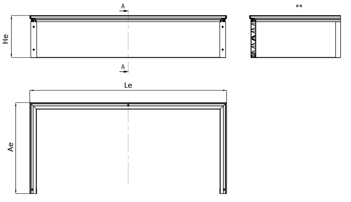 Esquema técnico generico del realce de tragaluz THERM, realce de altura fija H275.