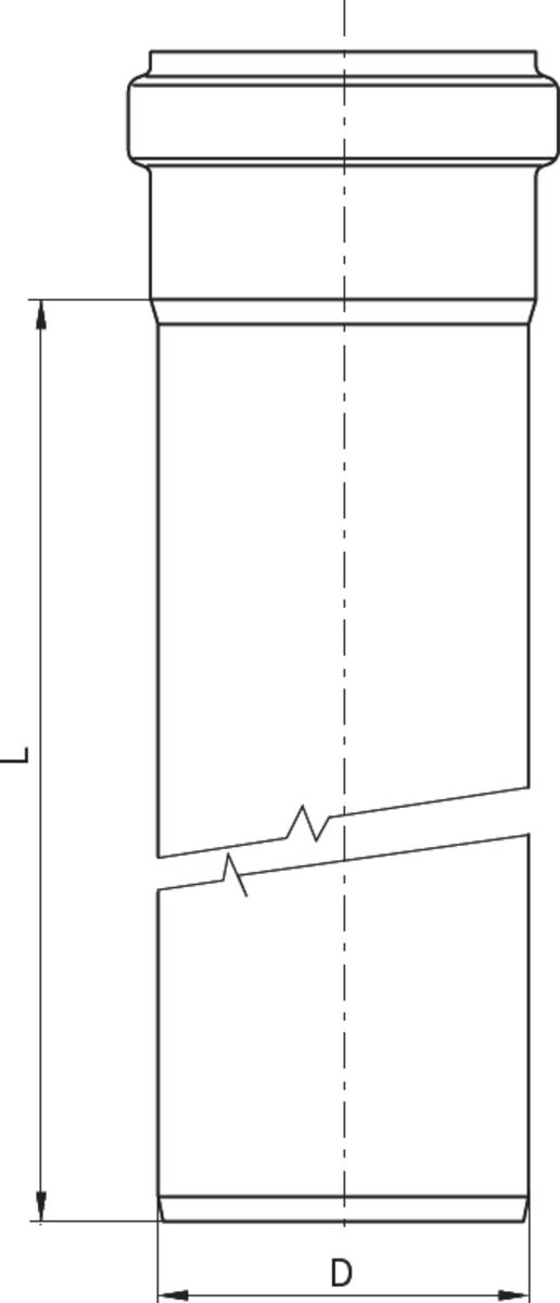 Esquema técnico da tubagem PIPE recta de DN75-125