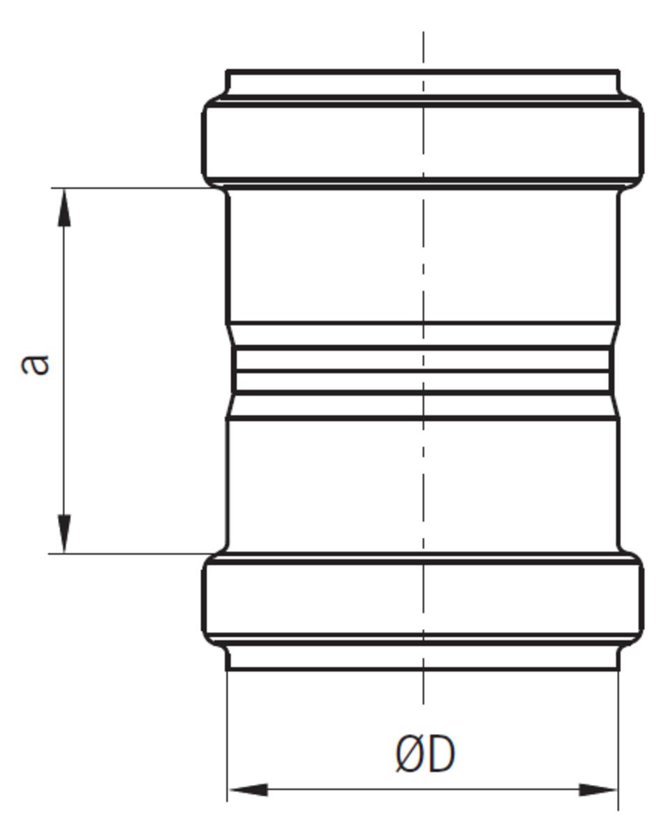 Esquema técnico general da manga da tubagem PIPE, manga de união realizada em aço inoxidável.
