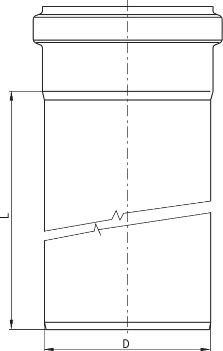 Esquema técnico da tubagem PIPE recta de DN160-315