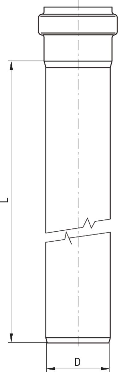 Esquema técnico da tubagem PIPE recta de DN40-50