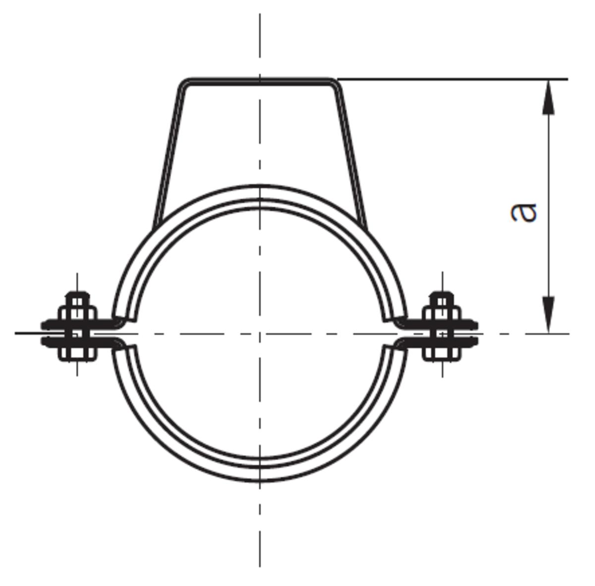 Esquema técnico general do suporte para fixação com estribo da tubagem PIPE, realizada em aço inoxidável.