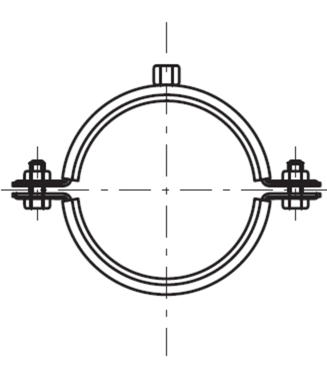 Esquema técnico general do suporte para fixação da tubagem PIPE, realizada em aço inoxidável.