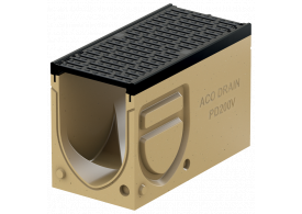 Canal de drenaje de inspección y registro ACO MONOBLOCK PD200V 0.1 de hormigón polímero, con reja<br/>extraible tipo pasarela de fundición y clase de carga D400 según EN 1433.