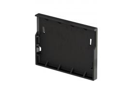 Render de la tapa inicio/final para el canal XTRADRAIN 100 L11 A138 H100 en composite plástico negro.