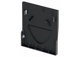 Render de la tapa inicio/final para el canal XTRADRAIN 150 L11 A188 H210 en composite plástico negro.