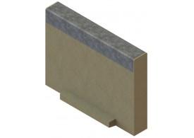 Render de la tapa inicio/final para el canal MULTILINE V100 L20 A123 H100 en homgión polímero con bastidor en acero galvanizado.