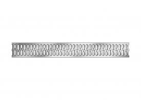 Render de la reja para canal MULTIDRIAN/MULTILINE/XTRADRAIN 100, reja pasarela en acero galvanizado de dimensiones L1000 A123 H21/21 con sistema de fijación Drainlock, clase de carga A15.