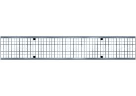 Render de la reja para canal MULTIDRIAN/MULTILINE/XTRADRAIN 100, reja entramada 23X11 en acero galvanizado de dimensiones L1000 A123 H21/21 con sistema de fijación Drainlock, clase de carga C250.