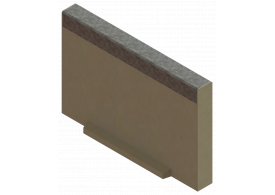 Render de la tapa inicio/final para el canal MULTILINE V150 L20 A185 H120 en homgión polímero con bastidor en acero galvanizado.