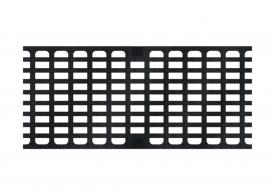 Render de la reja para canal MULTIDRIAN/MULTILINE/XTRADRAIN 200, reja entramada 31X14 en fundición de dimensiones L500 A223 H21/35 con sistema de fijación Drainlock, clase de carga C250.