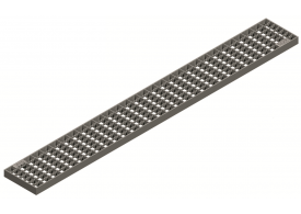 Render da grelha para canal Modular 125, grelha entramada antiderrapante 25X25 20X2 em aço inoxidável AISI304 da dimensões L1000 A125 H20 sem sistema de fixação, classe de carga C250.