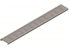 Render da grelha para canal Modular 125, grelha perfurada em aço inoxidável AISI304 da dimensões L1000 A125 H20 sem sistema de fixação, classe de carga A15.