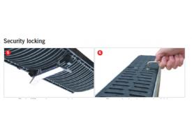 Render do kit ant-rubo do MULTIDRAIN 100, com sistema de fixação por parafusos para la grelha passarela em fundição.