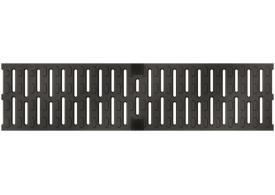 Render de la reja para canal MULTIDRIAN/MULTILINE/XTRADRAIN 100, reja anti-tacón R8 en fundición de dimensiones L500 A123 H21 con sistema de fijación Drainlock, clase de carga D400.