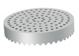 Render da grelha para sumidouro EG, grelha perfurada em aço inoxidável AISI304 da dimensões Ø170 H30 sem sistema de fixação, classe de carga L15.