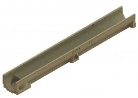 Render del conjunto de canal SELF 100 L1000 H95 en hormigon polímero con premarca para salida vertical DN/OD 110 sin reja