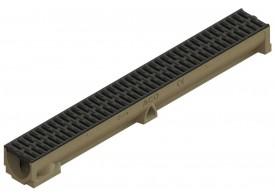 Render del conjunto de canal SELF 100 L1000 H95 en hormigon polímero con premarca para salida vertical DN/OD 110 y reja pasarela en composite plástico negro A15 con sistema de fijación por clip