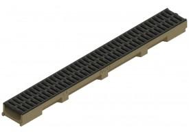 Render del conjunto de canal SELF 100 L1000 H55 en hormigon polímero con premarca para salida vertical DN/OD 110 y reja pasarela en composite plástico negro A15 con sistema de fijación por clip
