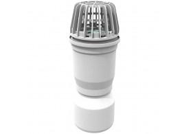 Render del sumidero para el tragaluz THERM, fabricado en polipropileno color blanco, con salida vertical DN110.