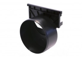 Esquema técnico da tampa inicio/final com união pata tubagem DN/OD 110 para o canal HEXALINE em polipropileno preto.