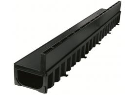 Render del canal HEXALINE 2.0 H79 en polipropileno con reja brickslot L de polipropileno A15 color negro