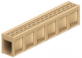 Render do canal de inspecção MONOBLOCK PD100V em betão polímerico com grelha integrada