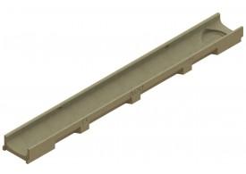 Render del conjunto de canal SELF 100 L1000 H55 en hormigon polímero con premarca para salida vertical DN/OD 110 sin reja