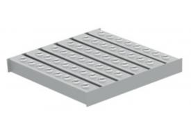 Render da grelha para sumidouro EG, grelha multislot 5 em aço inoxidável AISI304 da dimensões L218 A218 H30 sem sistema de fixação, classe de carga L15.
