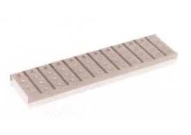 Esquema técnico da grelha para canal Modular 125, grelha multislot 5 em aço inoxidável AISI304 da dimensões L500 A125 H20 sem sistema de fixação, classe de carga A15.