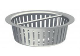 Render do cesto em aço inoxidável AISI304, de Ø159 H50 para sumidouros EG com saída vertical.