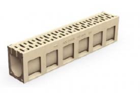 Render do canal de inspecção MONOBLOCK PD150V em betão polímerico com grelha integrada