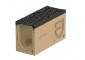 Render do canal de inspecção MONOBLOCK PD100V 0.2 L500 H280 em betão polímerico com grelha passarela em fundição D400, sistema de fixação Drainlock e pré-formas laterais quebráveis L-T-X e vedação estanca