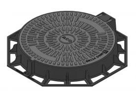 Render da tampa BASIC circular em fundição dúctil, de dimensões Ø850 H100 classe de carga D400, sem inscripção supeiror ou inferior.