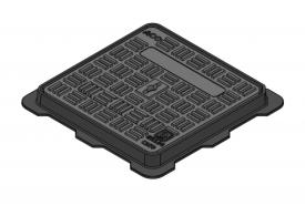 Render da tampa BASIC quadrada em fundição dúctil, de dimensões L500 A500 H40 classe de carga C250, sem inscripção superior.