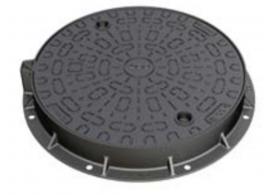 Render da tampa CITYTOP-S FIX em fundição dúctil cor preto, de dimensões Ø780 H100 classe de carga D400.