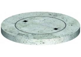 Render da tampa fixa para separador de gorduras. Inclui 1 tampa de betão Ø600 A15 e aro em betão de dimensões Ø1000 H80.