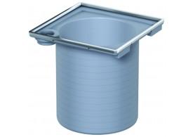 Render da secção de topo do sumidouro EASYFLOW, fabricado em plástico ABS, de dimensões L150 A150 H150 fundo Ø125, sem grelha.