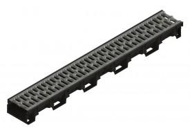 Render del conjunto de canal XTRADRAIN 100 L1000 H75 en composite plásico con premarca para salida vertical DN/OD 110 y reja pasarela en acero galvanizado A15 con sistema de fijación Drainlock