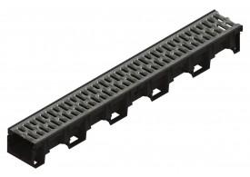 Render do conjunto de canal XTRADRAIN 100 L1000 H100 em composite plástico com pré-marca para saída vertical DN/OD 110 e grelha passarela em aço galvanizado A15 com sistema de fixação Drainlock