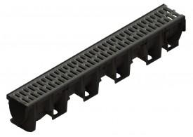 Render do conjunto de canal XTRADRAIN 100 L1000 H150 em composite plástico com pré-marca para saída vertical DN/OD 110 e grelha passarela em aco galvanizado A15 com sistema de fixação Drainlock