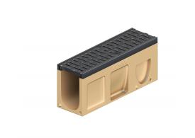 Render del canal registro MONOBLOCK PD100V de hormigón polímero con reja pasarela de fundicón D400, sistema de fijación Drainlock y preformas laterales rompibles L-T-X