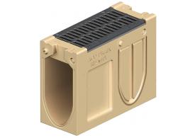 Render do canal de inspecção MONOBLOCK RD150V em betão polímerico com grelha passarela em fundição F900, sistema de fixação Drainlock e pré-formas laterais quebráveis L-T-X