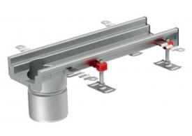Render del canal Modular 125 L500 H63 de altura interior H50 en acero inoxidable AISI304 con salida final DN/OD 110