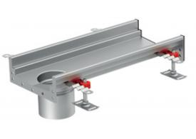 Render del canal Modular 200 L500 H81,5 de altura interior H60 en acero inoxidable AISI304 con salida final DN/OD 110
