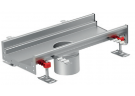 Render del canal Modular 200 L500 H81,5 de altura interior H60 en acero inoxidable AISI304 con salida central DN/OD 110