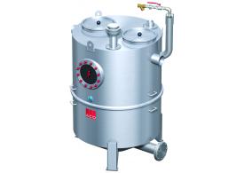 Render del separador de grasas aéreo LIPUJET-S-RD de acero inoxidable AISI316, redondo, extensión con tubo de succión (D).