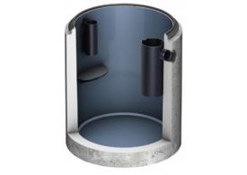 Render do separador de gorduras enterrado LIPUMAX-C-B FST em betão armado, com revestimento interno de resina.
