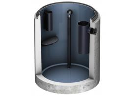 Render do separador de gorduras enterrado LIPUMAX-C-D FST em betão armado, com revestimento interno de resina, extensão com tubo de sucção (D).
