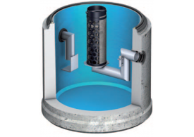 Render dos separadores de hidrocarbonetos OLEOPATOR-C em concreto com decantador de lodo integrado
